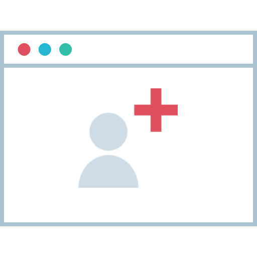 User with red medical cross in software window